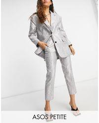 ASOS Asos Design Petite Moire Suit Trouser - Metallic