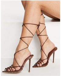 SIMMI Shoes Simmi London - Felicia - Sandali con tacco e laccetti a reticolo marrone