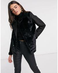AX Paris Черная Байкерская Куртка С Вставками Из Искусственного Меха -черный