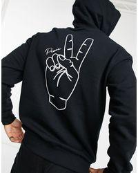 Jack & Jones Originals - Felpa con cappuccio e stampa con simbolo della pace sulla schiena, colore nero