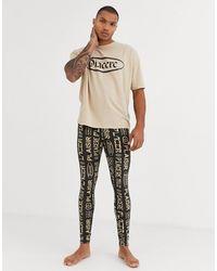 ASOS Lounge Pyjama megging And Oversized Tshirt Set With Slogan Print - Multicolour