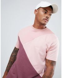 cb7e4ee6dac Lyst - Boohoo Muscle Fit Leaf Print Curve Hem T-shirt in Pink for Men