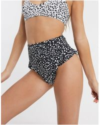 ASOS Recycled Mix And Match High Waist Frill Bikini Bottom - Black