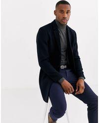 Jack & Jones Темно-синее Пальто С Добавлением Шерсти Premium-темно-синий