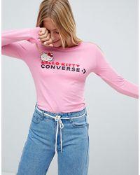 Converse X Hello Kitty - T-shirt slim rosa a maniche lunghe