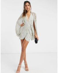 ASOS Sequin Embellished Cape Sleeve Mini Dress With Wrap Skirt - Green