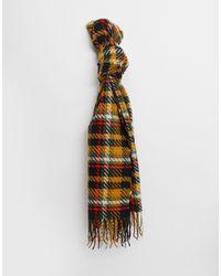 Pieces Écharpe à franges à carreaux écossais - Noir et jaune - Multicolore