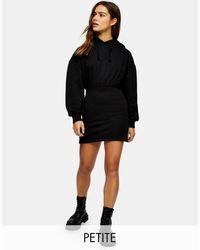 Topshop Unique Hooded Sweat Mini Dress - Black