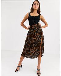 Motel Midi Skirt With Thigh Split - Brown