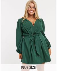 Skylar Rose Plus Wrap Front Dress With Tie Waist And Balloon Sleeves-green