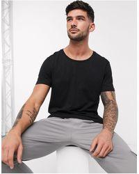 ASOS T-shirt Met Lage Ronde Hals - Zwart