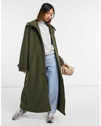 Weekday Ricky Recycled Wool Belted Coat - Green