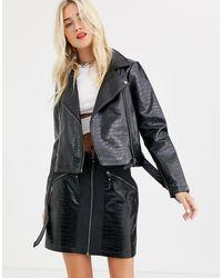 Noisy May Snake Skin Faux Leather Biker Jacket - Black