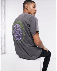 New Look - Серая Oversized-футболка С Принтом Земного Шара На Спине -черный - Lyst