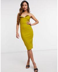 Vesper Зеленое Облегающее Платье-бандо Миди -зеленый Цвет - Желтый