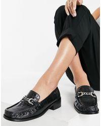 TOPSHOP Croc Buckle Detail Loafers - Black