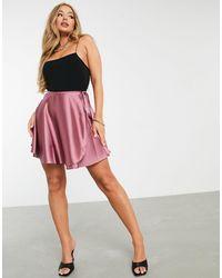 ASOS Satin Wrap Mini Skirt - Pink