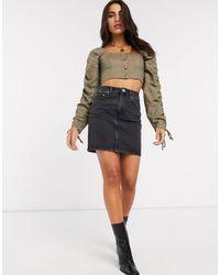 ASOS Denim Original High Waisted Skirt - Black