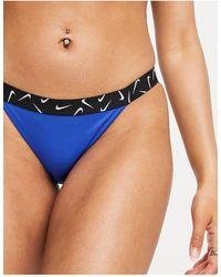 Nike Синие Трусы-бикини С Фирменной Лентой И Логотипом-галочкой -голубой - Синий