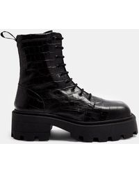 TOPSHOP Square Toe Leather Chunky Lace Up Crocodile Boots - Black