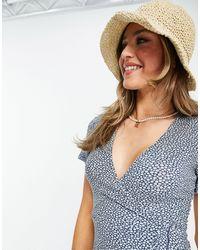 Pull&Bear Синее Платье Мини С V-образным Вырезом И Цветочным Принтом -розовый Цвет - Синий