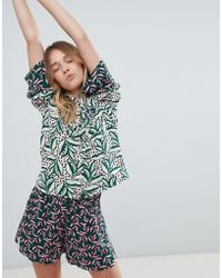 Monki - Leaf Print Co-ord Blouse - Lyst