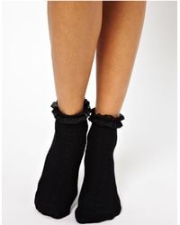 River Island Cable Frill Ankle Sock - Black