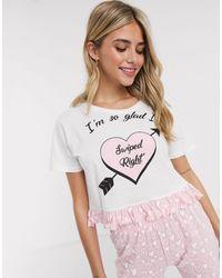 Brave Soul Pyjamaset Met Swiped Right-print En Broek - Wit