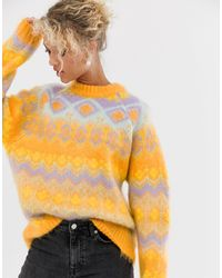 ASOS Premium Oversized Brushed Fairisle Sweater - Orange