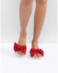 Glamorous - Red Bow Espadrille Slide - Lyst