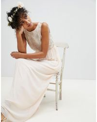 TFNC London - Maxi Bridesmaid Dress With Soft Floral Sequin Top - Lyst