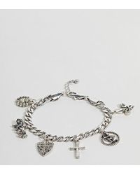 Reclaimed (vintage) - Inspired Silver Charm Bracelet Exclusive To Asos - Lyst