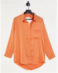 Skylar Rose Satin Open Back Shirt - Orange