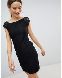 Zibi London Pencil Dress With Lace Sleeves - Black