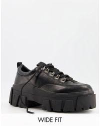 ASOS Черные Туфли Для Широкой Стопы Из Искусственной Кожи, Со Шнуровкой И Массивной Подошвой - Черный