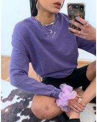 TOPSHOP Co-ord Acid Wash Sweatshirt - Purple