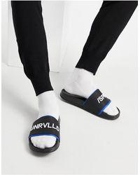 ASOS Sandalias negras con forro azul - Negro