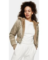 TOPSHOP Reversible Faux-fur And Nylon Cropped Jacket With Hood - Multicolour