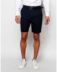 ASOS Asos Slim Tailored Shorts In Navy - Blue