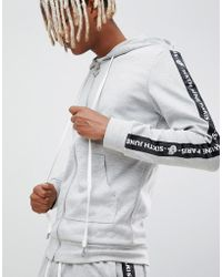 Sixth June - Zip Thru Hoodie With Logo Side Stripe - Lyst
