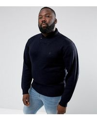 French Connection Plus Shawl Collar Sweater - Blue