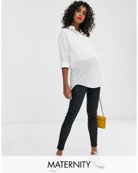 New Look Over Bump Faux Leather Coated jeggings - Black