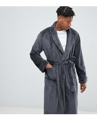 French Connection Tall Fleece Robe - Gray