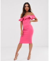 Vesper Bodycon Dress With Sweetheart Neckline With Fill In Fushcia - Pink