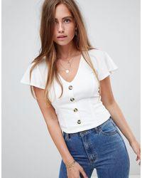 Miss Selfridge Blusa bianca con bottoni davanti - Bianco