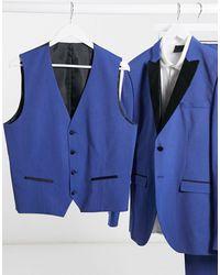 SELECTED Gilet doppiopetto stile smoking skinny - Blu