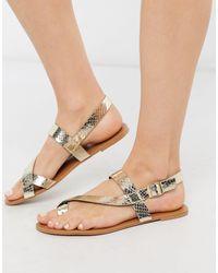 Miss Selfridge Flat Sandals With Toe Loop - Metallic