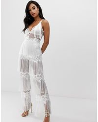 Lioness Sleeveless Allover Lace Jumpsuit With Tassel Trims - White