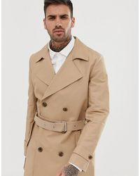 ASOS Shower Resistant Double Breasted Trench - Natural