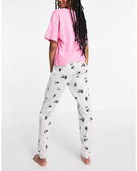 New Look Pyjamas & Puppies Slogan Pyjama Set - Pink